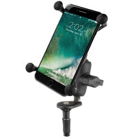 RAM Motorcycle Fork Stem Mount with Short Double Socket Arm & Universal RAM X-Grip Large Phone Cradle